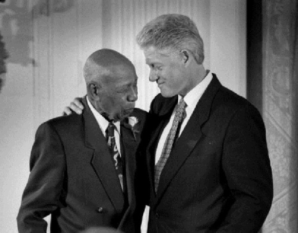 "Tuskegee Syphilis experiment 1932 - 1972 - President Bill Clinton publicly apologised to five of the eight survivors of this experiment | photo of survivor Herman Shaw with President Clinton who said, ""It is not only in remembering that shameful past that we can make amends and repair our nation, but it is in remembering that past that we can build a better present and a better future. And without remembering it, we cannot make amends and we cannot go forward."" The president also stated that the Tuskegee men were betrayed and lied to. Their rights were trampled upon."