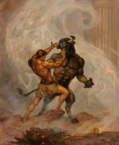 Resultado de imagen de Teseo mata al Minotauro