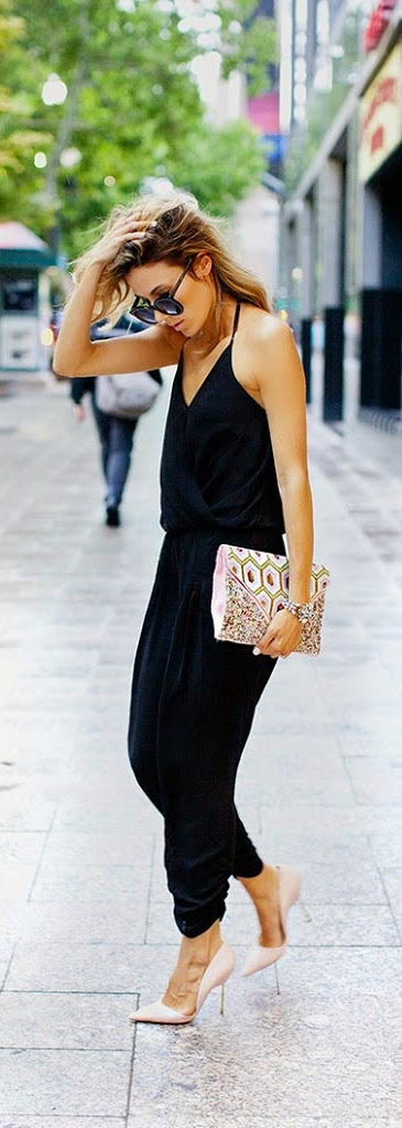 Black Jumpsuit with Beaded Clutch Purse and Pink Heels | Spring Outfits
