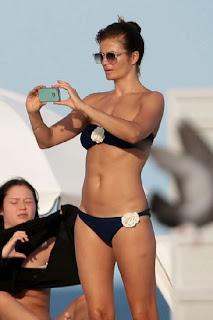 Helena Christensen navy bikini Miami