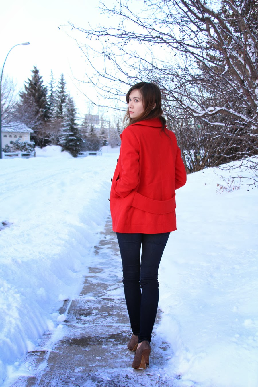 winter fashion, H&M, Joe's Jeans, red jacket, Club Monaco