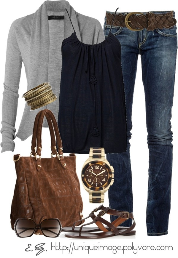 Grey long sweater, black blouse, jeans bracelet, hand bag and wrist watch for ladies