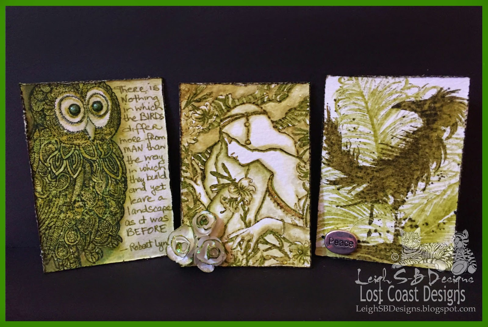 http://leighsbdesigns.blogspot.com/2015/03/shades-of-green-atcs-50-shades-of-green.html