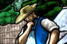 Stained-glass Interpretation of a XIXth century painting : the gardener
