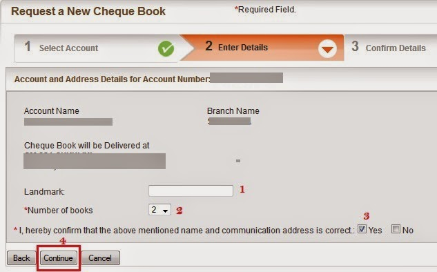 Bank of Baroda Request Cheque Book - Step 2