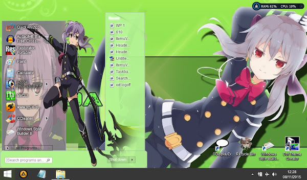 Shinoa  Owari no seraph (Theme windows 8) 2