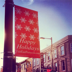 happy holidays east passyunk 300uw Green Aisle Grocery (new) vs. Avenue Cheese Shop (old) for the holidays