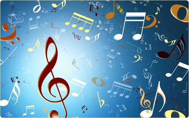 Notas musicais fundo azul