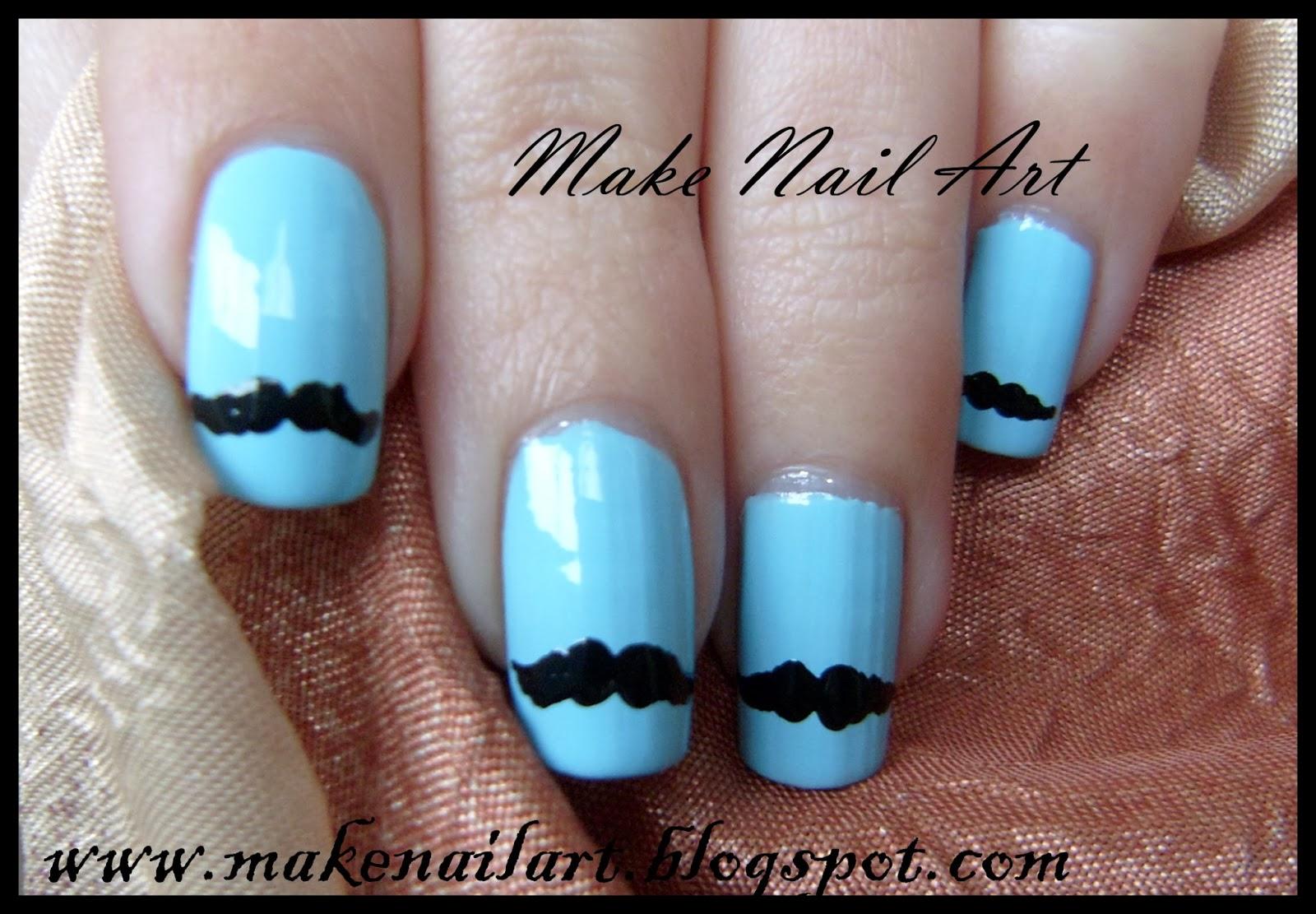Make nail art november 2013 moustache nail art prinsesfo Choice Image