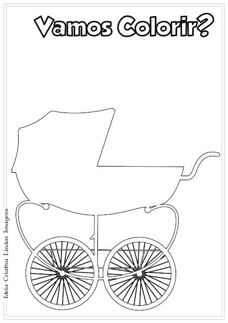 Carrinho de bebê desenho para colorir