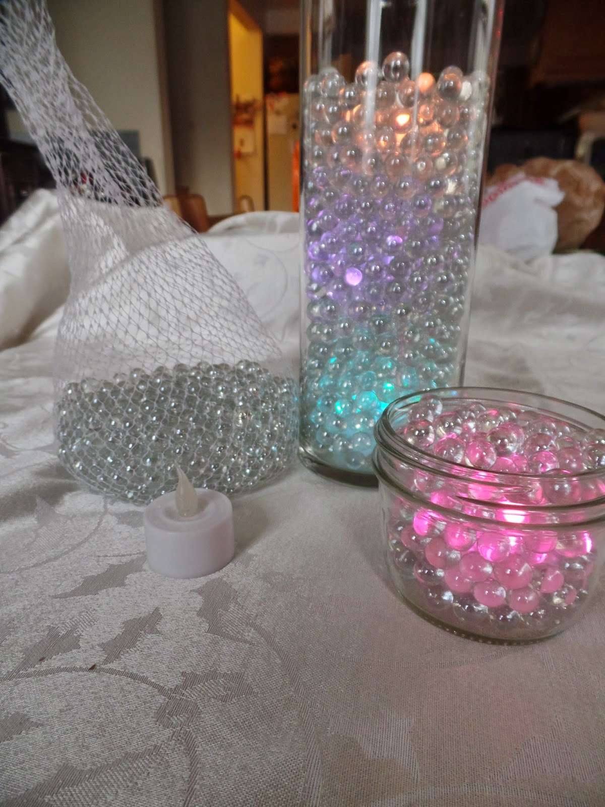 Flat glass marbles crafts - When I Followed Through At The Craft Store I Found Tea Lights That Changed Colors And Tiny Clear Round Marbles That Refracted The Light Even Better Than The