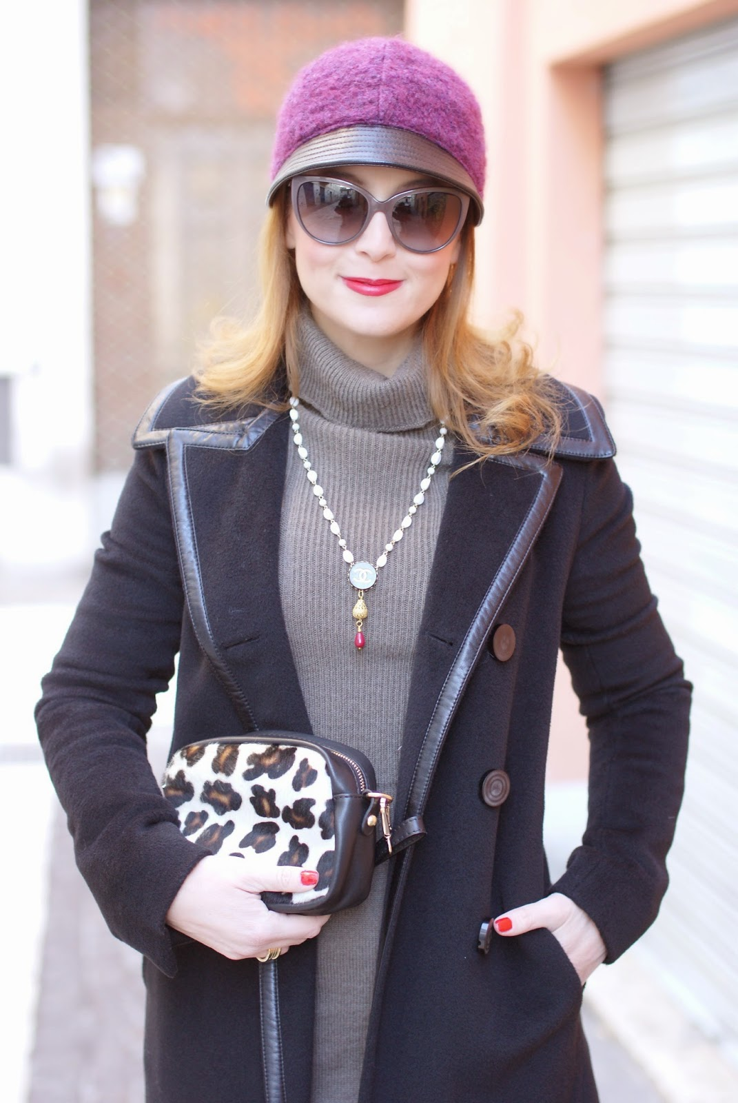 Balenciaga black coat, jockey hat, Theatrebijoux necklace, Sofia borse Candy pochette, Fashion and Cookies, fashion blogger