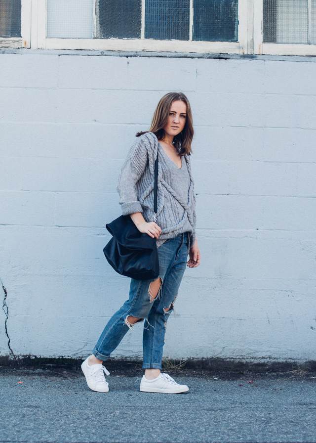 Vancouver style blogger, In My Dreams wearing oversized cozy fashion for the fall weather.