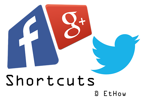 Facebook, Google plus and twitter keyboard shortcuts.