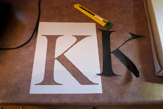 Stencil and marking of K