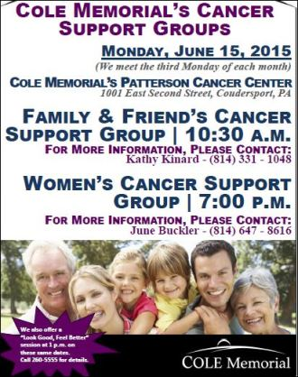 6-15 Cole Memorial's Cancer Support Groups