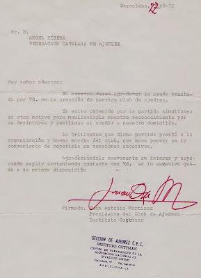 Carta de la Sección de Ajedrez del Instituto Guttman a Ángel Ribera en 1972
