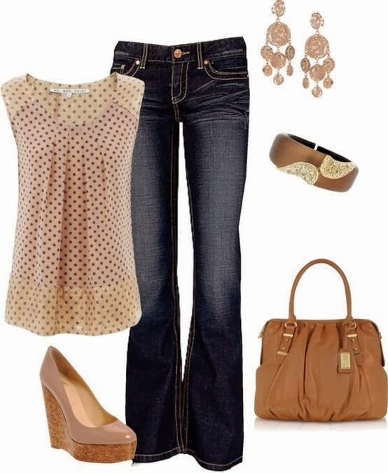 Polka dot blouse,  jeans, handbag and high heel sandals
