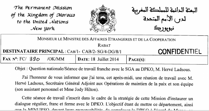 Protestations marocaines contre la MINURSO auprès de Hervé Ladsous (18 juillet 2014)