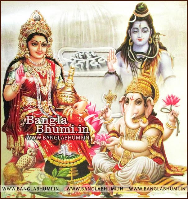 Maa Laxmi Lord Ganesha and Lord Shiva Indian God HD Poster Wallpaper
