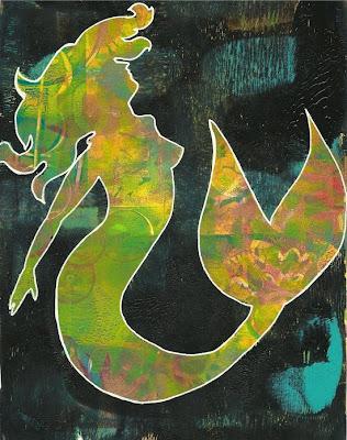 Whoopidooings: Carmen Wing: Gelli Print Mermaid