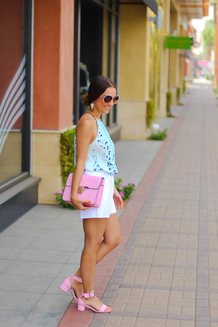 asos summer look wearing bardot top pink and teal