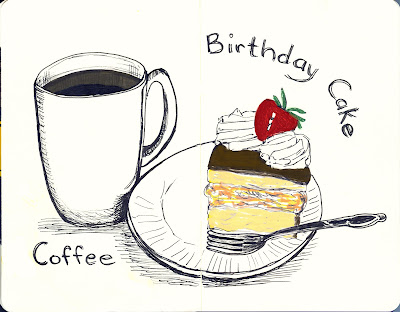 Coffee and Cake - Pen and Ink with Watercolour by Ana Tirolese ©2012