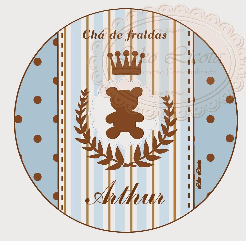 Rótulos personalizados ursinho com coroa