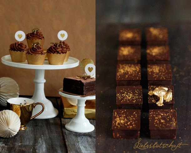 liebesbotschaft golden chocolate sweet table. Black Bedroom Furniture Sets. Home Design Ideas