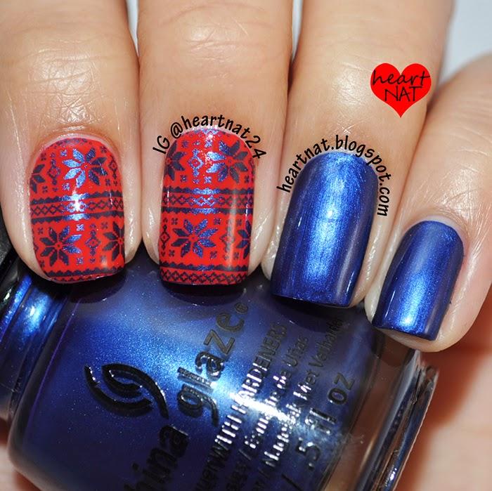 heartnat: Red & Blue Fair Isle Nails