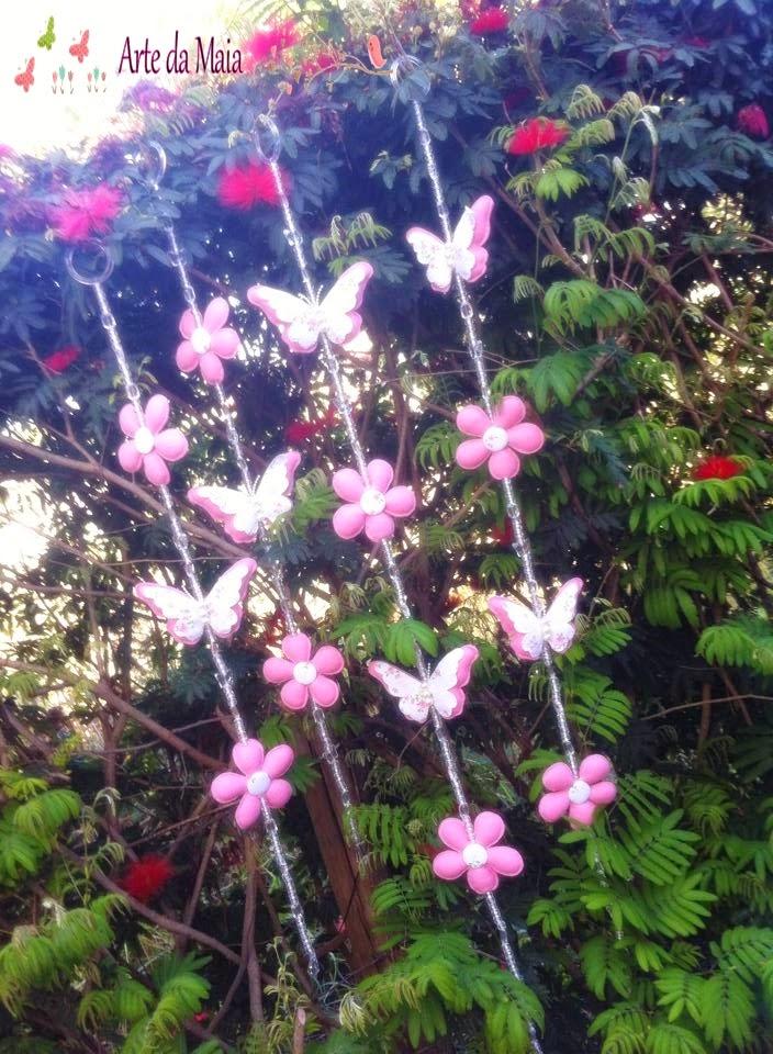 flores jardim do mar : flores jardim do mar:Ateliê Arte da Maia: Mobile de Cortina Flores e Borboletas!!!!!