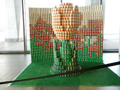Can you believe this tulip  is built out of canned food?  Can-tastic!