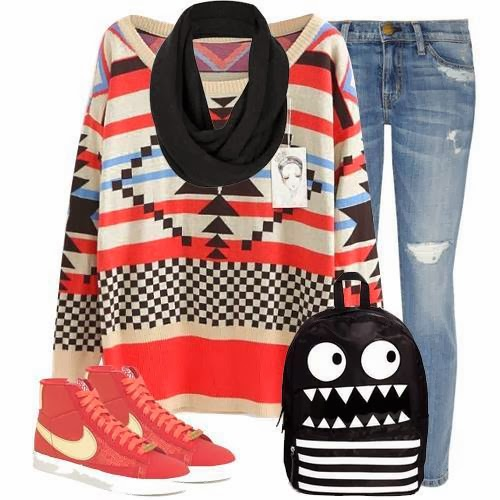 Apricot Red Long Sleeve Geometric Pattern Sweater, Jeans, Bag and Suitable Shoes