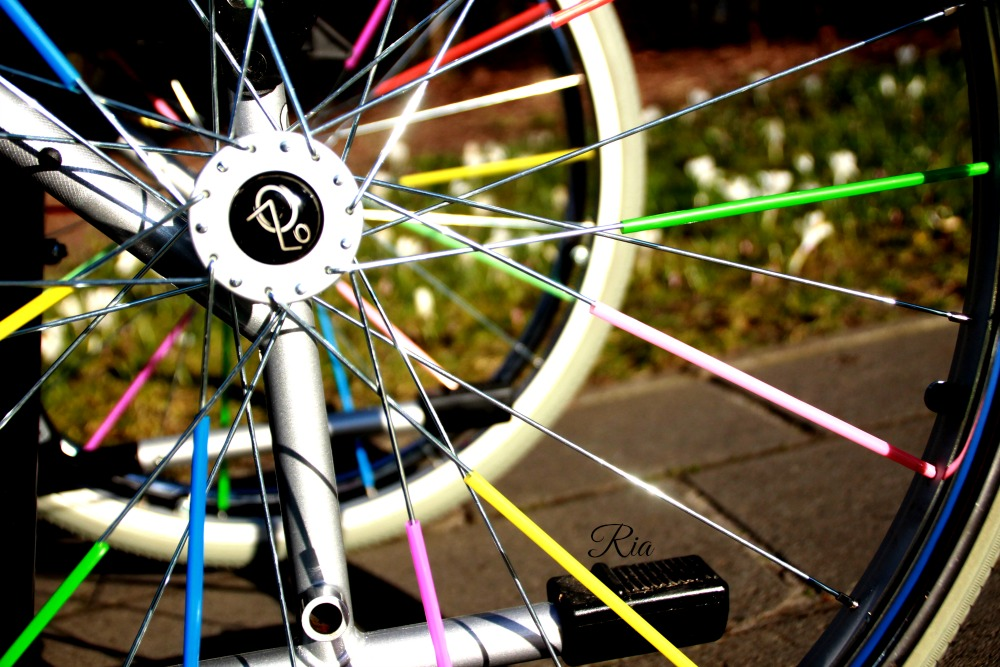 Colorfull straws in the wheelchair-wheel