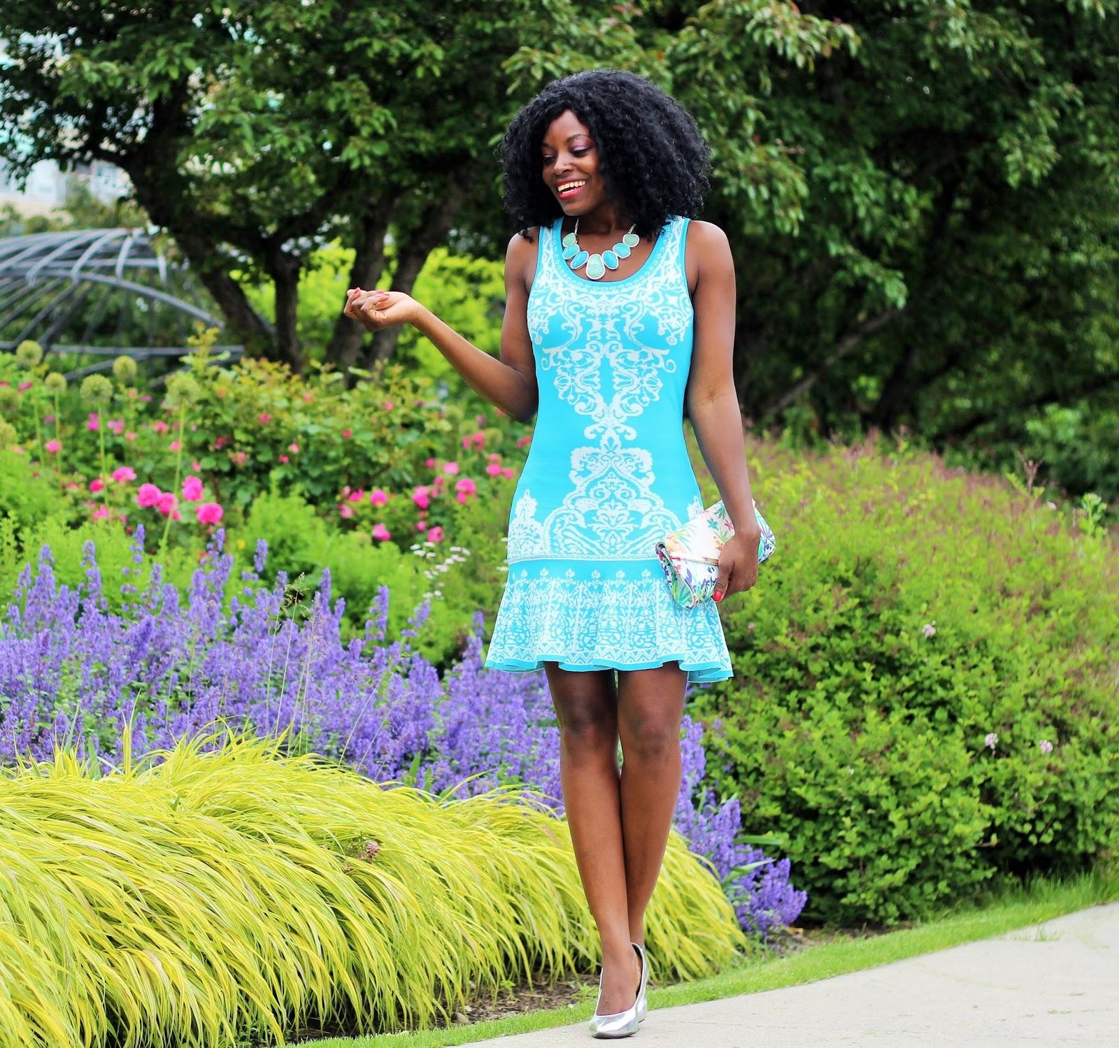 Sleeveless Turquoise Damask Print Dress x Leona Stone Bib Necklace