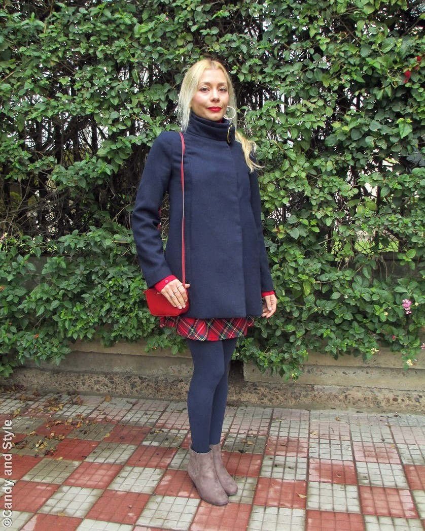 BlueCoat, RedTurtleneckSweater, TartanSkirt, BlueTights, TaupeBooties, RedMiniBag - Lilli Candy and Style Fashion Blog