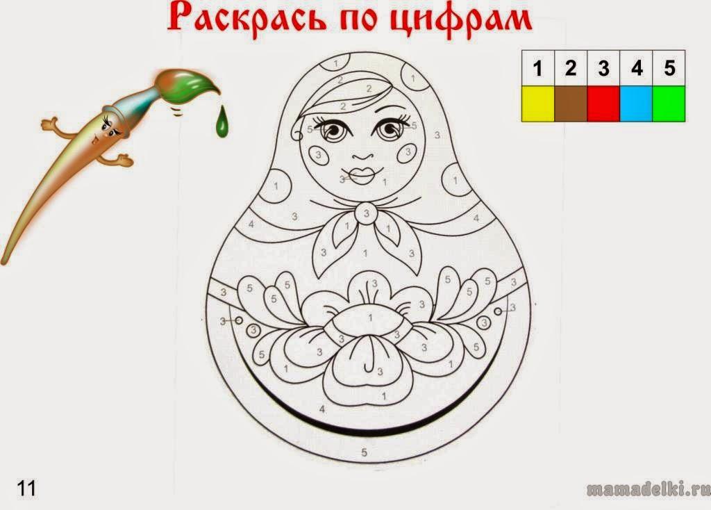 матрешка раскраска шаблон для детей