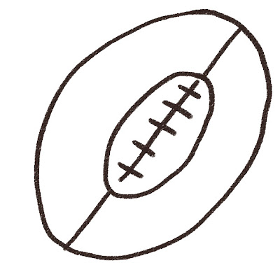 ラグビーボールのイラスト(スポーツ器具) モノクロ線画