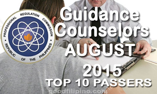 August 2015 Top 10 Passers of Guidance Counselors Board Exam Results
