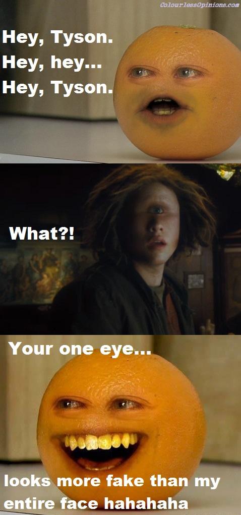 Annoying Orange vs. Percy Jackson Tyson's eye CGI meme