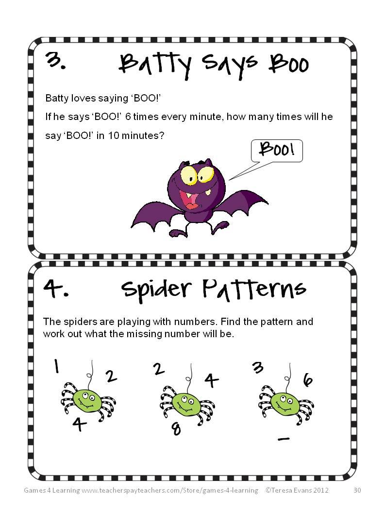 math worksheet : fun games 4 learning halloween math fun! : Math Brain Teaser Worksheets