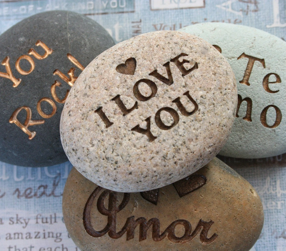 I Love You Images Written on Rock