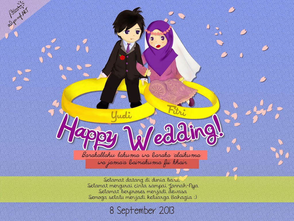 Kartun happy wedding