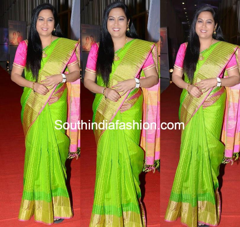 hema parrot green saree at erra bus audio launch