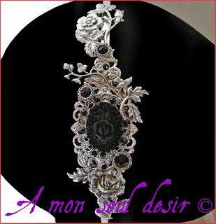 Serre-tête victorien gothique romantique fleur noire accessoire  floral coiffure cheveux gothic lolita gothik goth headband