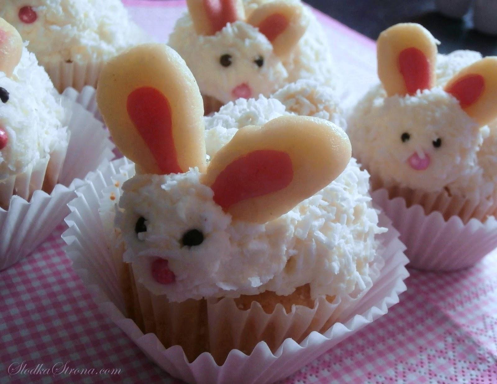 Kokosowe Muffinki - Babeczki Króliczki/Zajączki na Wielkanoc - Przepis - Słodka Strona