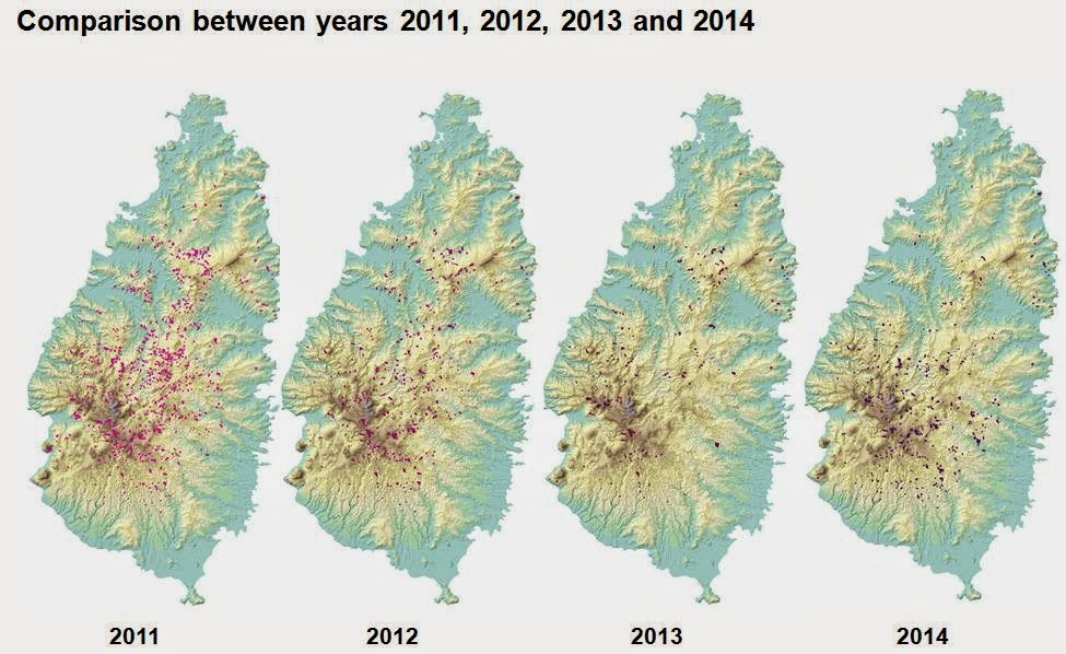Landslides identified over time.  There are most in 2011 immediately after Hurricane Tomas.  In 2012 and 2013, the number of landslides decreases.  The 2014 image shows both new landslides and reactivations of pre-existing ones.