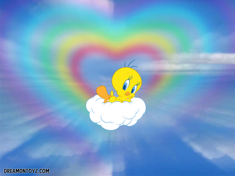 Free cartoon graphics pics gifs photographs tweety bird cloud tweety bird posing on a cloud with pastel heart full size 800 x 600 type wallpaper png voltagebd Images