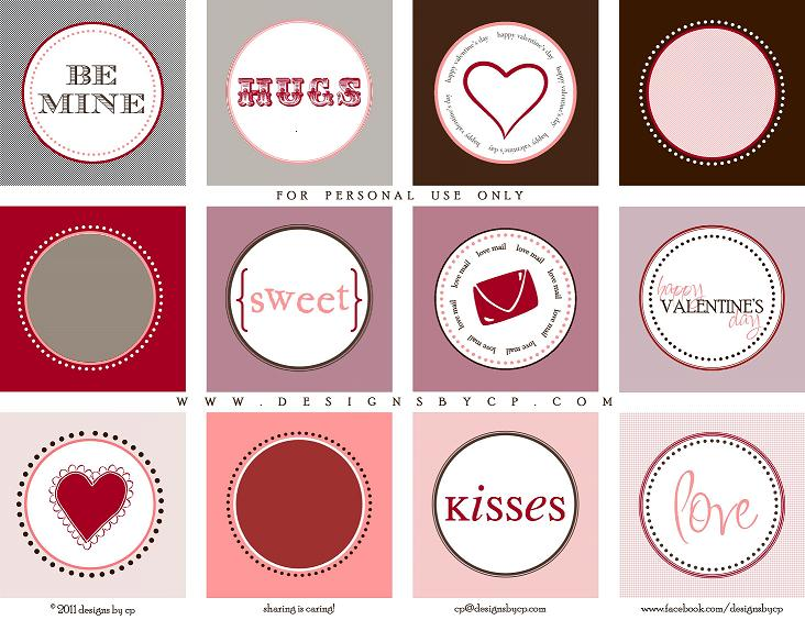 designs by cp: Free Valentine's Day Cupcake Toppers / Tags