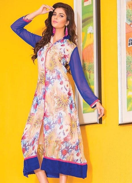 Multicolor Georgette Printed Party Wear Kurti
